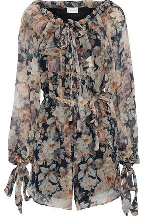 ZIMMERMANN Off-the-shoulder floral-print silk-georgette playsuit