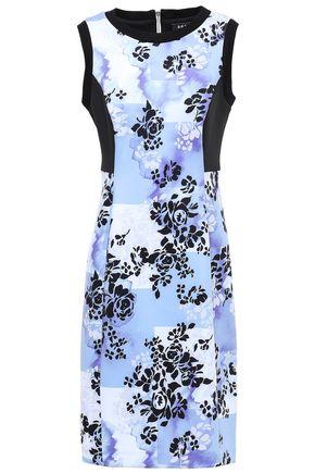 DKNY Paneled floral-print scuba dress