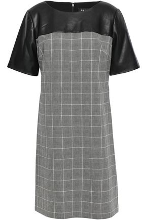 DKNY Faux leather-paneled checked woven mini dress