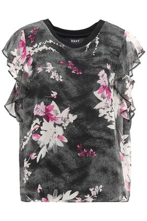 DKNY Ruffled floral-print crepe de chine blouse