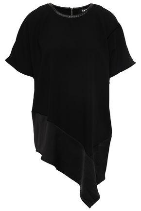 DKNY Asymmetric satin-crepe top