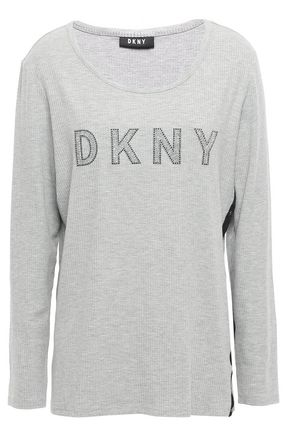 DKNY Crystal-embellished mélange stretch ribbed-knit top
