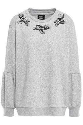 DKNY Crystal-embellished cotton-blend sweatshirt