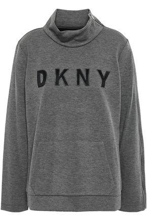 DKNY Appliquéd mélange scuba turtleneck sweater