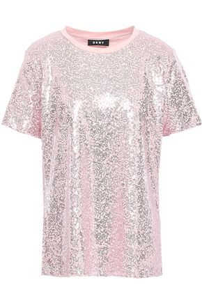 DKNY Sequined stretch cotton-jersey T-shirt