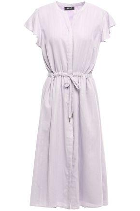 DKNY Metallic-trimmed gathered woven midi dress
