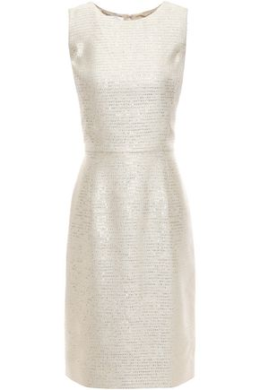 OSCAR DE LA RENTA Embellished embroidered lamé dress