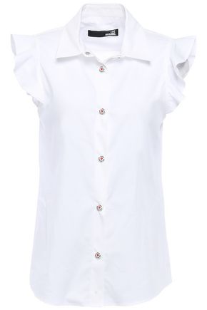 LOVE MOSCHINO Ruffle-trimmed stretch-cotton poplin shirt