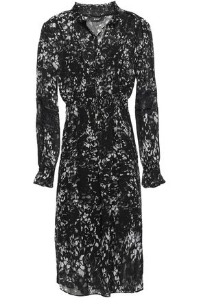 DKNY Lace-trimmed floral-print georgette midi dress
