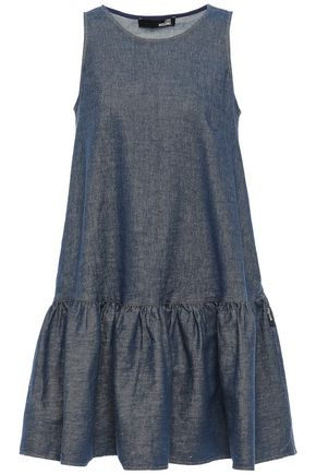 LOVE MOSCHINO Flared gathered denim mini dress