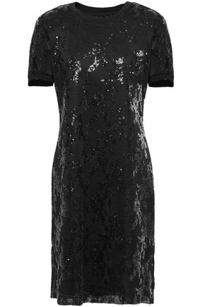 DKNY Sequin-embellished tulle mini dress