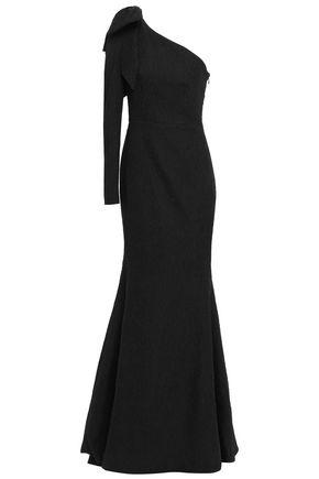 REBECCA VALLANCE One-shoulder bow-embellished jacquard gown
