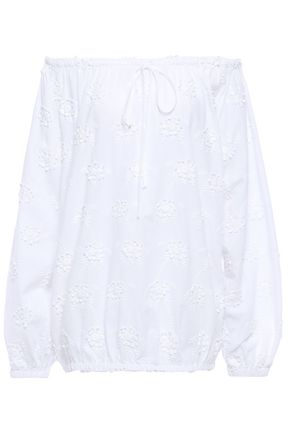 LOVE MOSCHINO Off-the-shoulder floral-embroidered cotton top