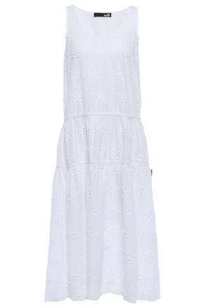 LOVE MOSCHINO Floral-appliquéd embroidered cotton midi dress