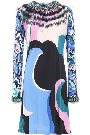 EMILIO PUCCI Feather-trimmed crystal-embellished printed stretch-jersey mini dress