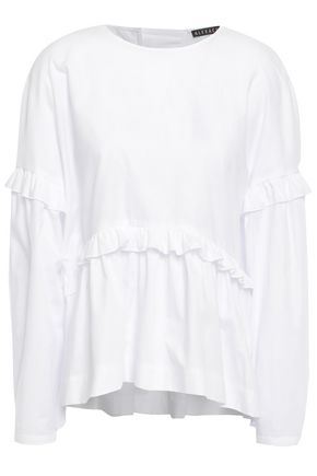ALEXACHUNG Bow-detailed ruffled cotton-poplin blouse