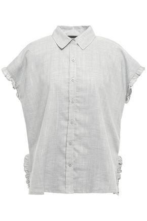 DKNY Metallic-trimmed ruffled woven shirt