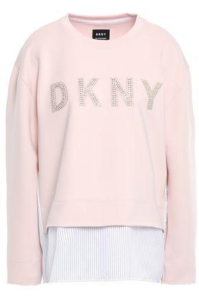 DKNY Twill-paneled appliquéd crystal-embellished scuba sweatshirt