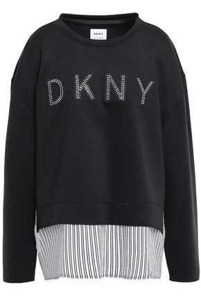 DKNY Twill-paneled appliquéd crystal-embellished scuba sweatshirt