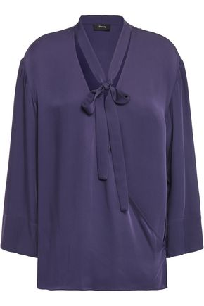 THEORY Wrap-effect pussy-bow silk-charmeuse blouse