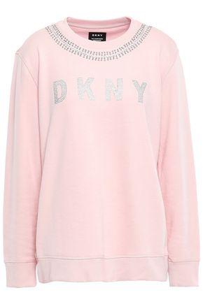 DKNY Crystal-embellished cotton-blend jersey sweatshirt