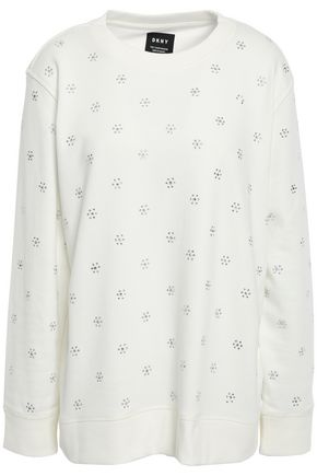 DKNY Crystal-embellished French cotton-blend terry sweatshirt