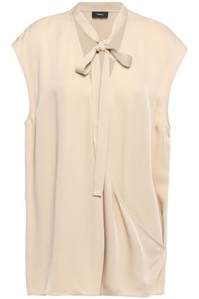 THEORY Pussy-bow wrap-effect silk blouse