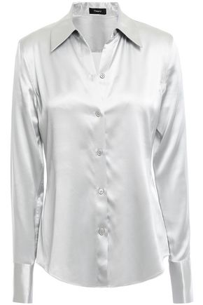 THEORY Silk-blend satin shirt