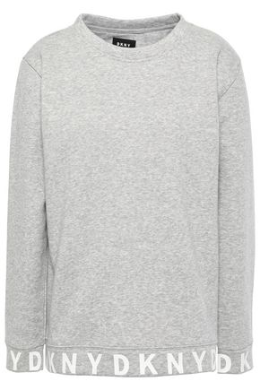 DKNY Printed mélange cotton-blend fleece sweatshirt