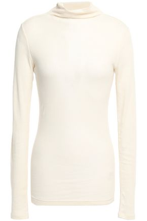THEORY Draped ribbed cotton and cashmere-blend top