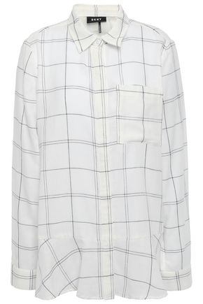DKNY Metallic-trimmed checked cotton-blend gauze shirt