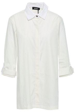 DKNY Pinstriped cotton-blend poplin shirt