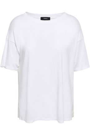 THEORY Silk-paneled Pima cotton and modal-blend T-shirt
