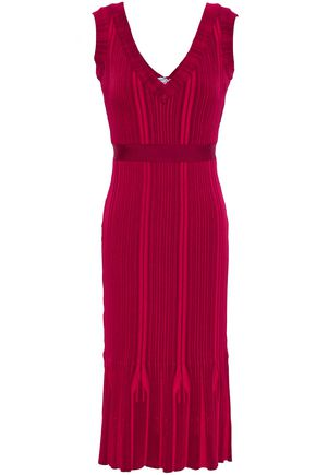 HERVÉ LÉGER Ribbed-knit midi dress