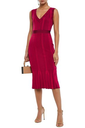 Herve Leger HervÉ LÉger Woman Fluted Ribbed-knit Dress Crimson