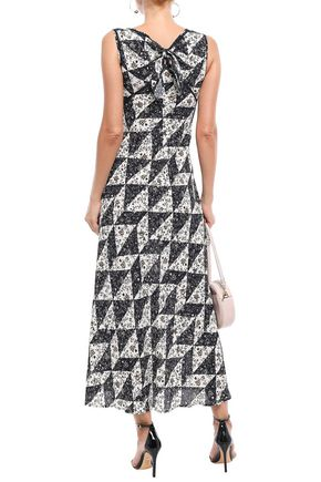 ALEXACHUNG Printed crochet-trimmed crepe de chine midi dress