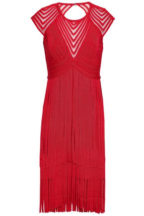 HERVÉ LÉGER Fringe tulle-paneled cutout bandage dress