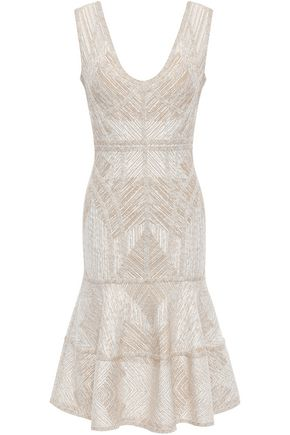 HERVÉ LÉGER Tiered metallic jacquard-knit dress
