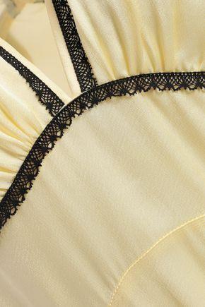 ALEXACHUNG Crochet-trimmed knotted satin-crepe maxi slip dress