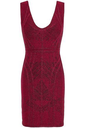 HERVÉ LÉGER Metallic bandage-jacquard mini dress
