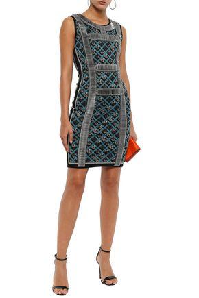 Herve Leger HervÉ LÉger Woman Tanya Embellished Jacquard-knit Mini Dress Azure