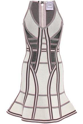 HERVÉ LÉGER Fluted pointelle-knit mini dress