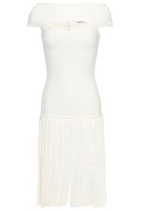 HERVÉ LÉGER Off-the-Shoulder fringed cutout bandage dress
