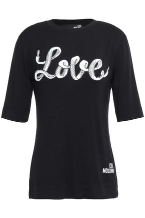 LOVE MOSCHINO Printed stretch modal-jersey T-shirt