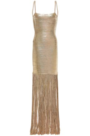 HERVÉ LÉGER Fringed coated metallic bandage gown