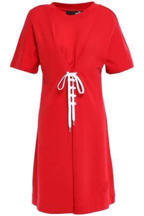 LOVE MOSCHINO Lace-up French cotton-terry mini dress