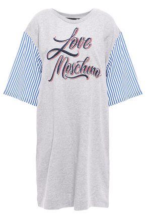 LOVE MOSCHINO ストライプ ポプリンパネル 刺繍入り フレンチコットンパイル地 ミニワンピース