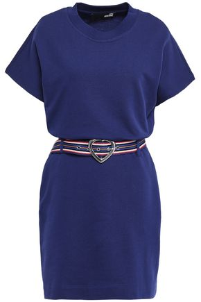 LOVE MOSCHINO Belted French cotton-terry mini dress