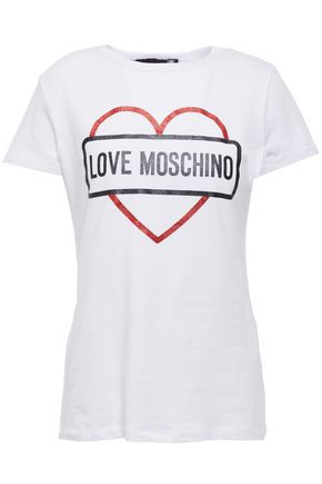LOVE MOSCHINO Glitter-embellished printed stretch cotton-jersey T-shirt