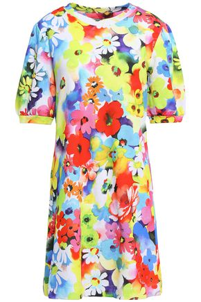 LOVE MOSCHINO Floral-print French cotton-terry mini dress